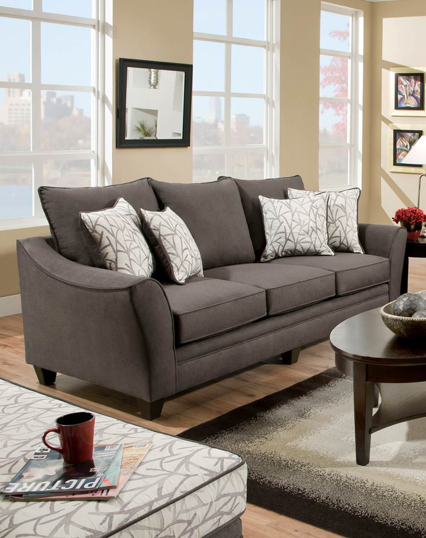 American Flannel Sofa In Seal Austin S Furniture Depot