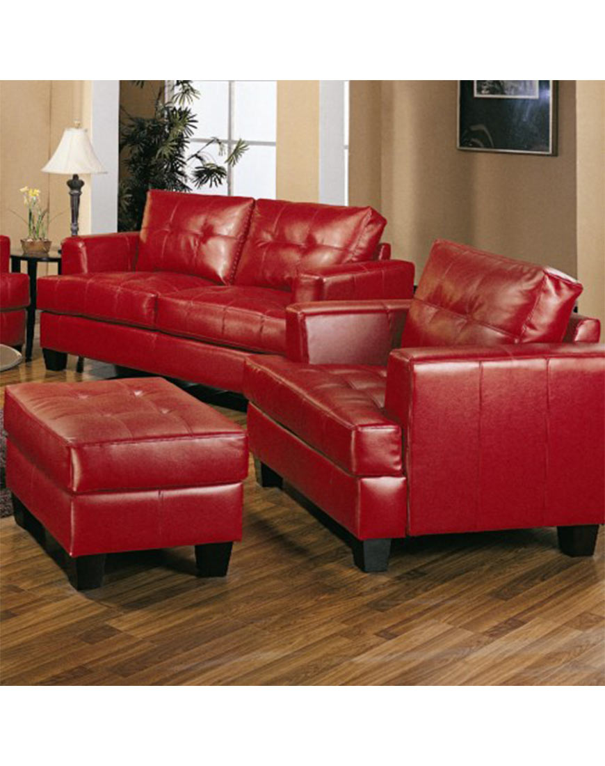 Coaster samuel contemporary leather ottoman in red