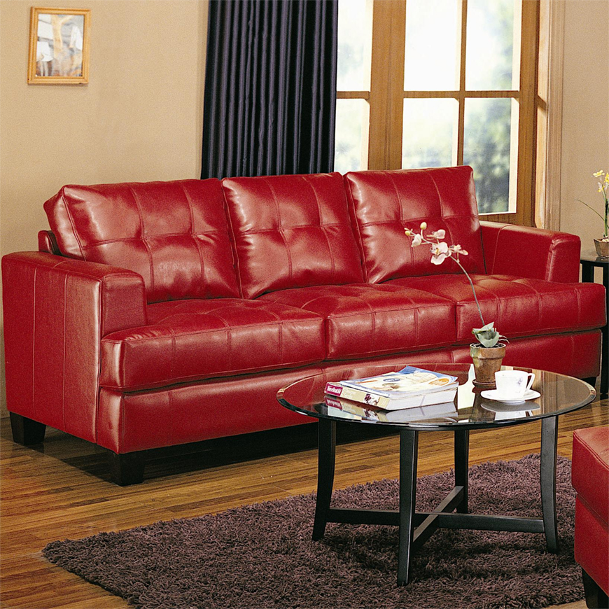 Coaster Samuel Contemporary Leather Sofa ...