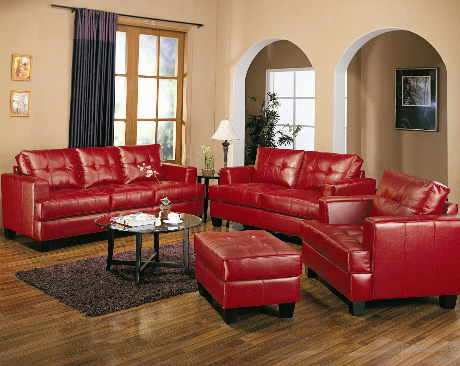 Coaster samuel contemporary leather chair in red