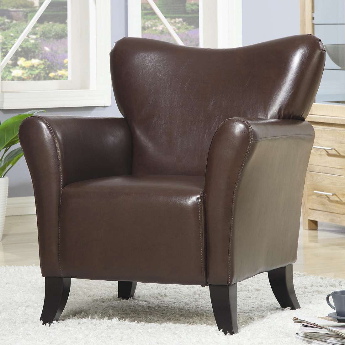 Coaster Vinyl Accent Chair In Brown