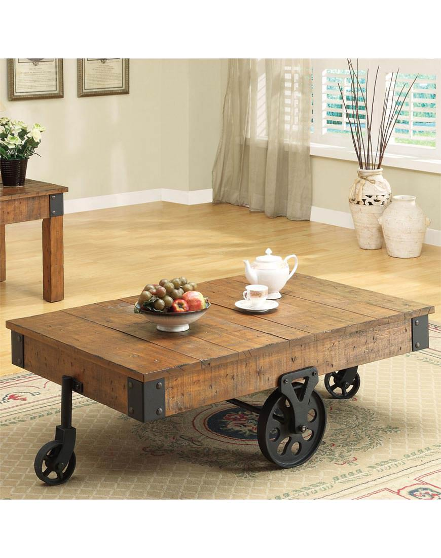 Pleasant Coaster Distressed Country Wagon Coffee Table Camellatalisay Diy Chair Ideas Camellatalisaycom