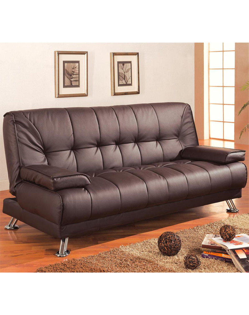 Coaster Brown Leatherette Sofa Bed