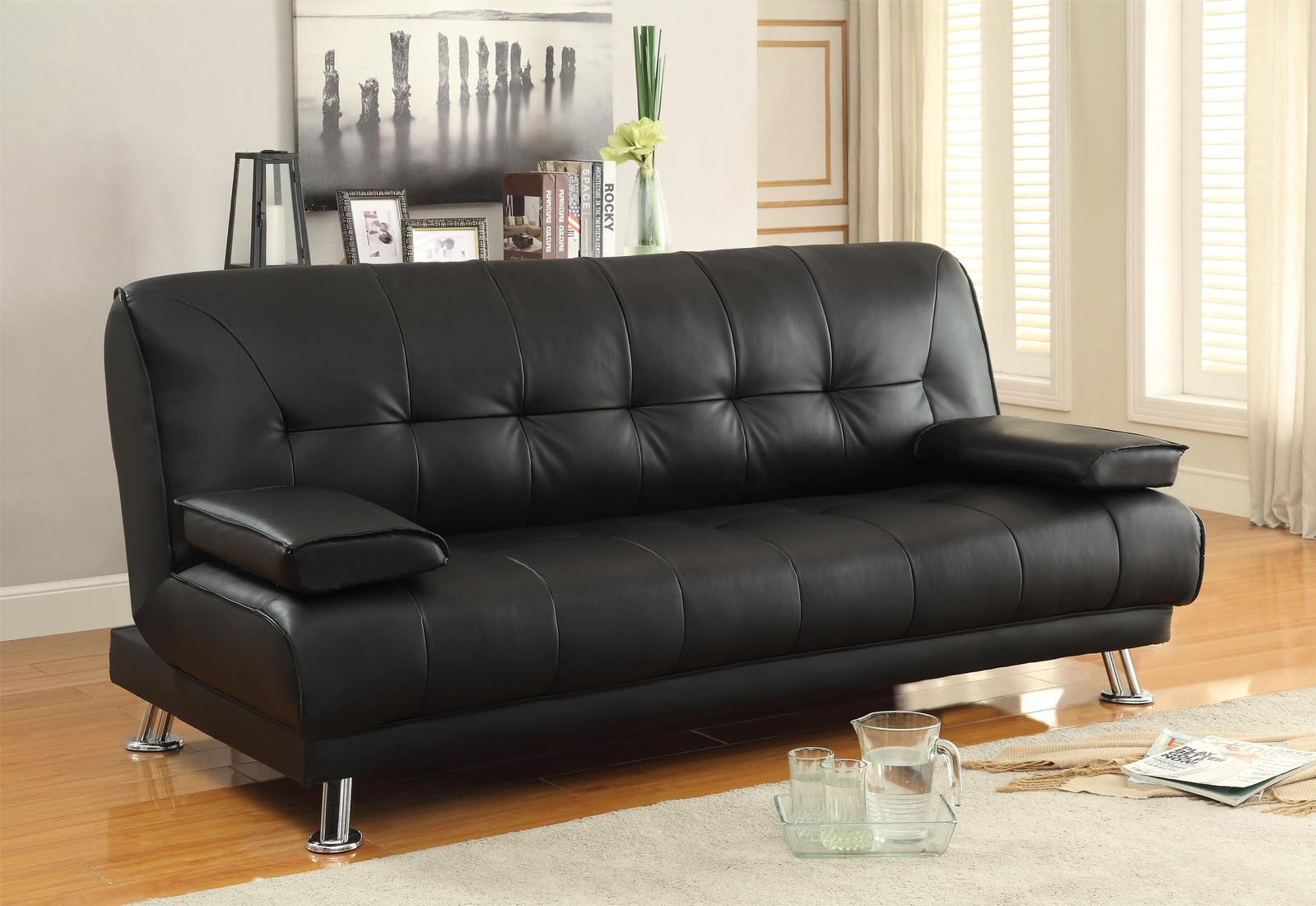 Coaster Faux Leather Convertible Sofa Bed