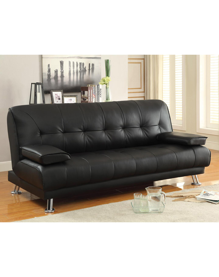 Terrific Coaster Faux Leather Convertible Sofa Bed Machost Co Dining Chair Design Ideas Machostcouk