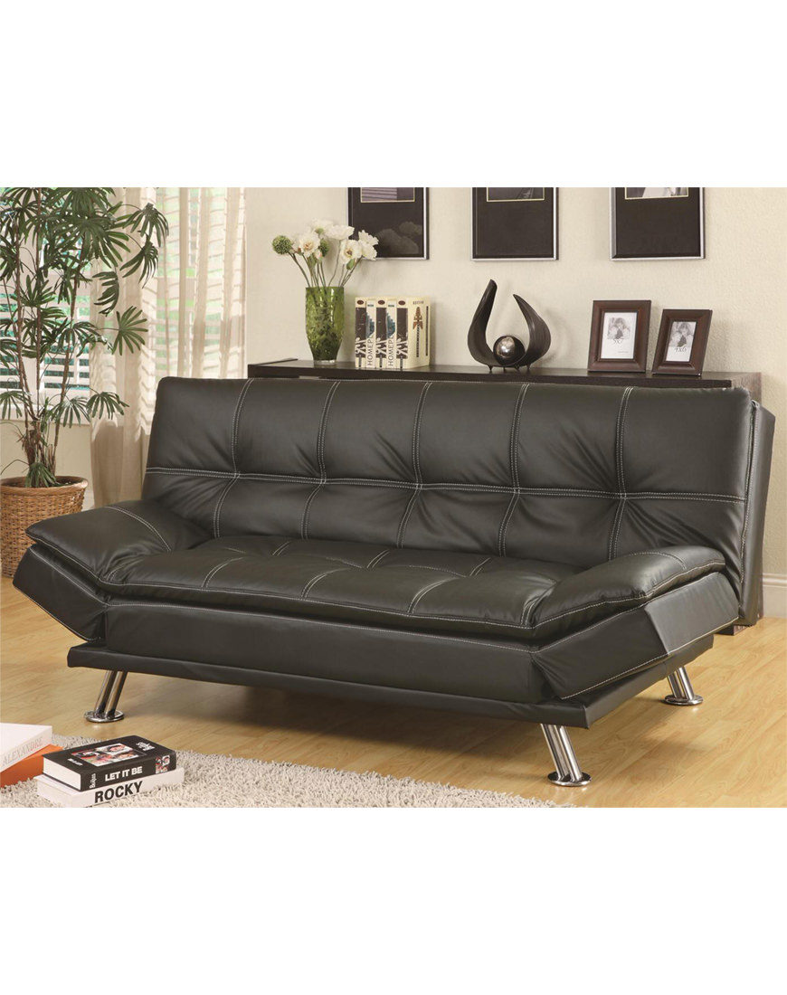 Coaster Faux Leather Convertible Sofa Bed Austin S