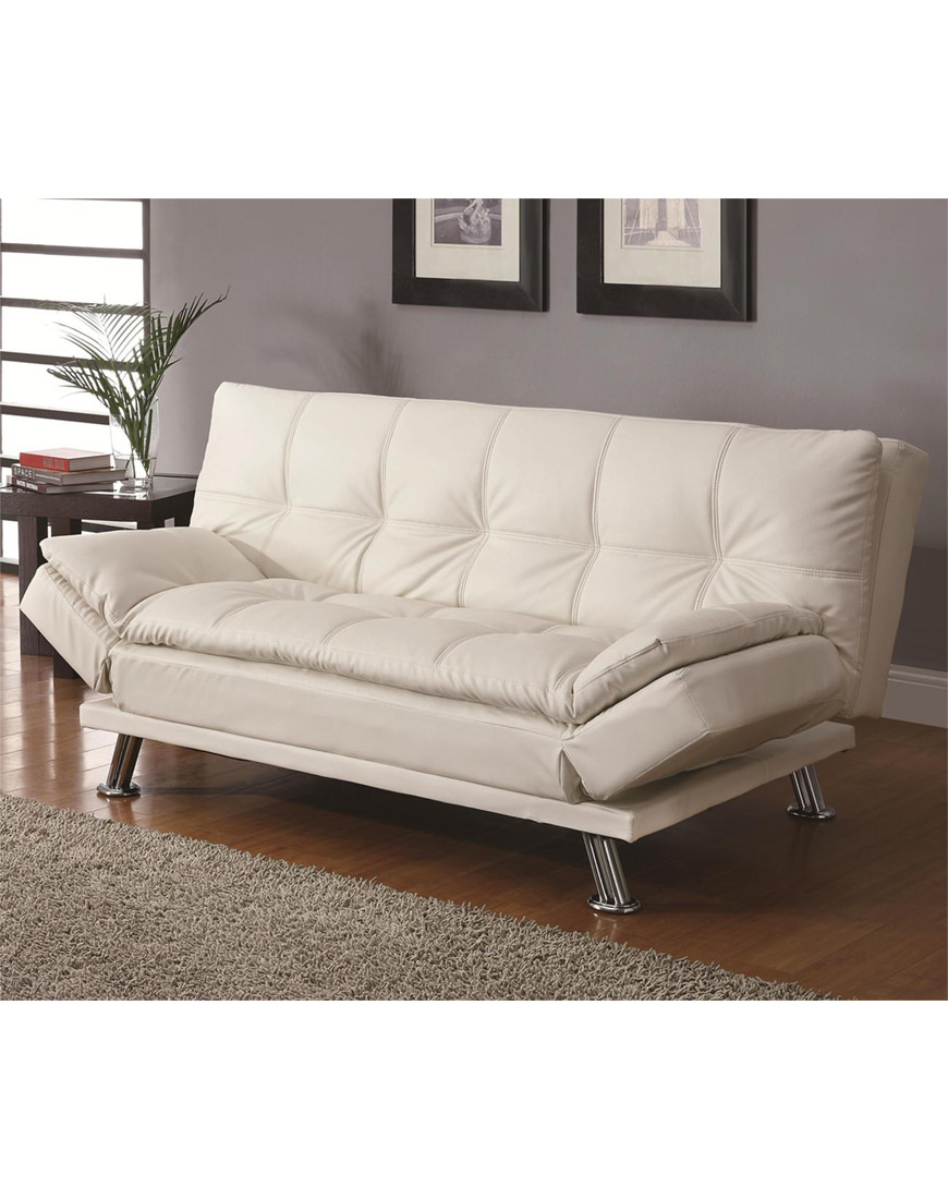 - Coaster Contemporary Styled Futon Sleeper Sofa Bed In White