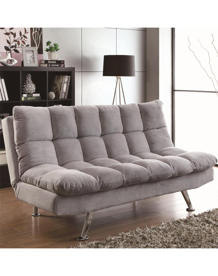 Fine Coaster Light Gray Teddy Bear Fabric Sofa Bed Gamerscity Chair Design For Home Gamerscityorg