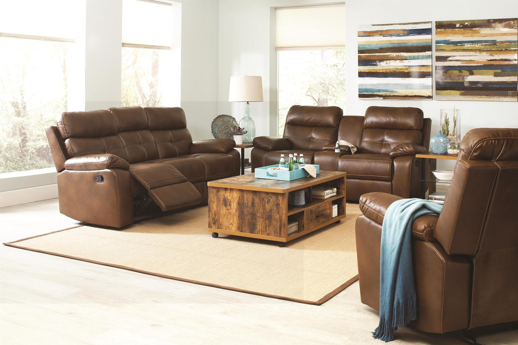 Coaster Damiano Casual Faux Leather Reclining Sofa