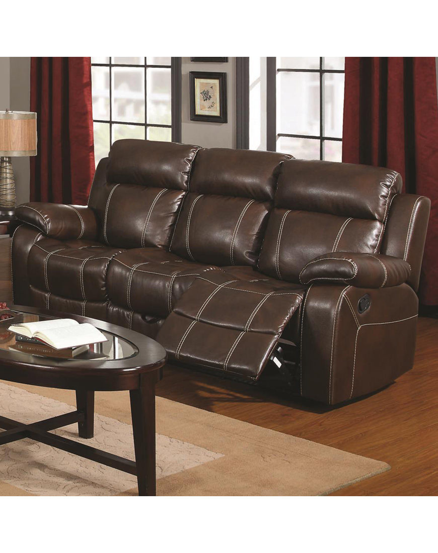 Astonishing Coaster Clifford Brown Leather Double Reclining Sofa Interior Design Ideas Pimpapslepicentreinfo