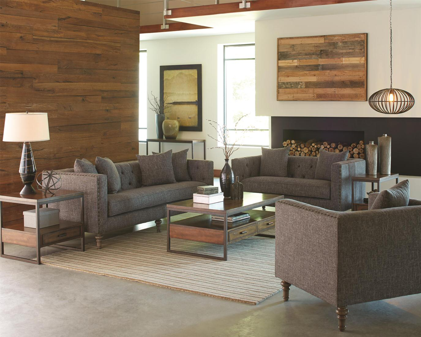 Coaster Ellery Loveseat With Traditional Industrial Style
