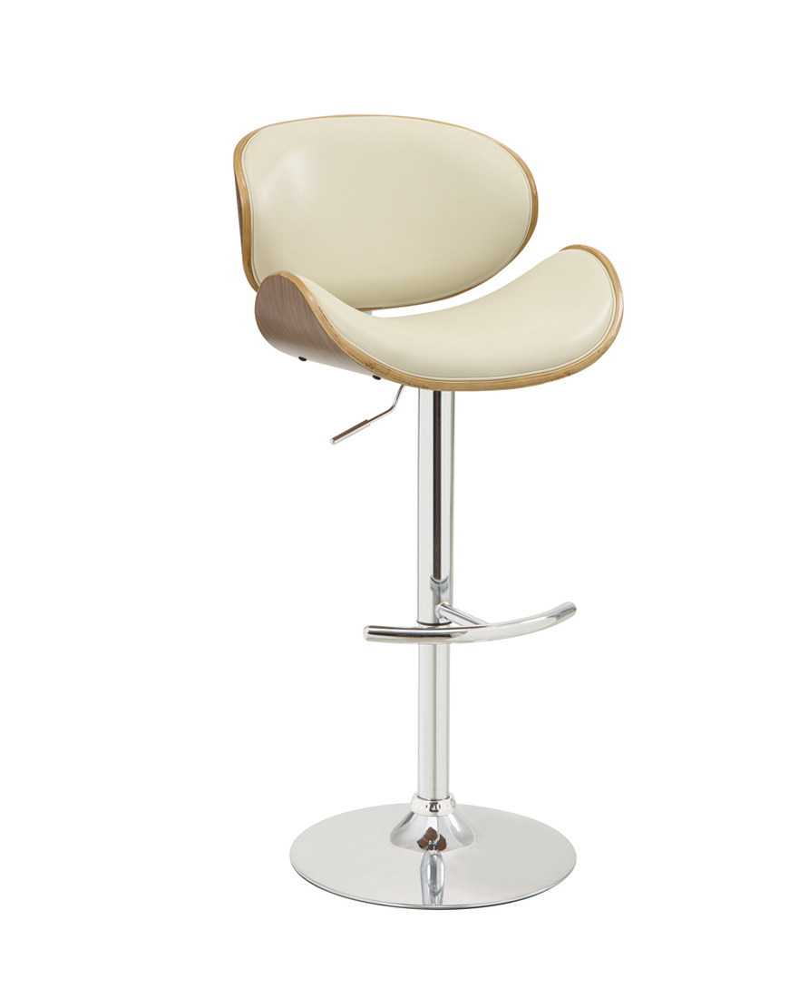 Coaster Adjustable Bar Stool With Ecru Upholstery And Wood