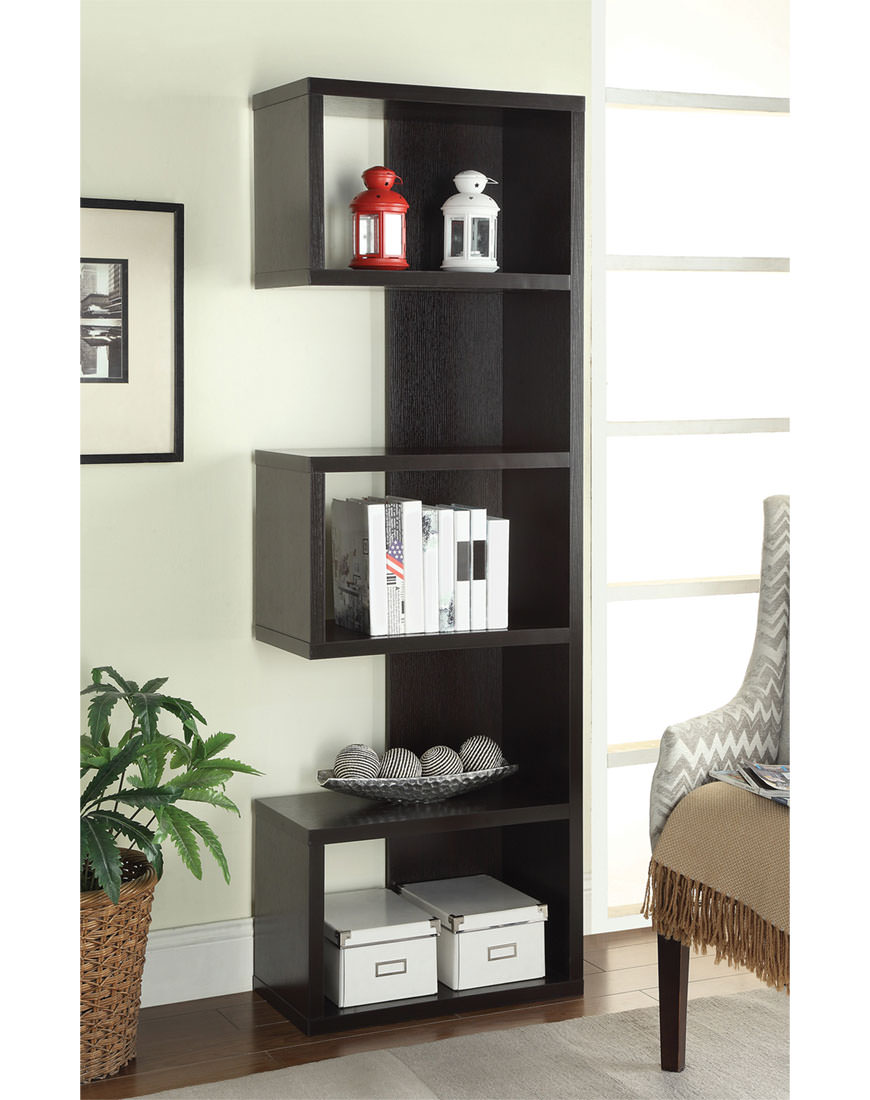 Backless Bookshelves Coaster Cappuccino Semi-Backless Bookshelf