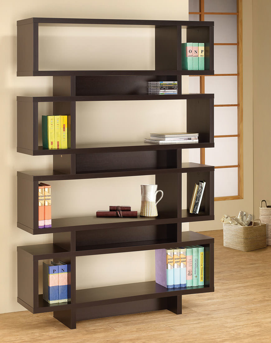 Coaster Contemporary Geometric Bookcase