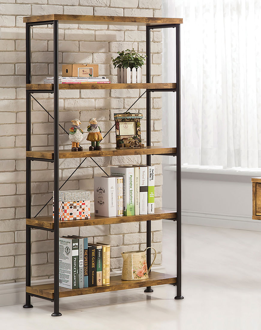 Coaster Barritt Small Wood And Metal Open Bookcase