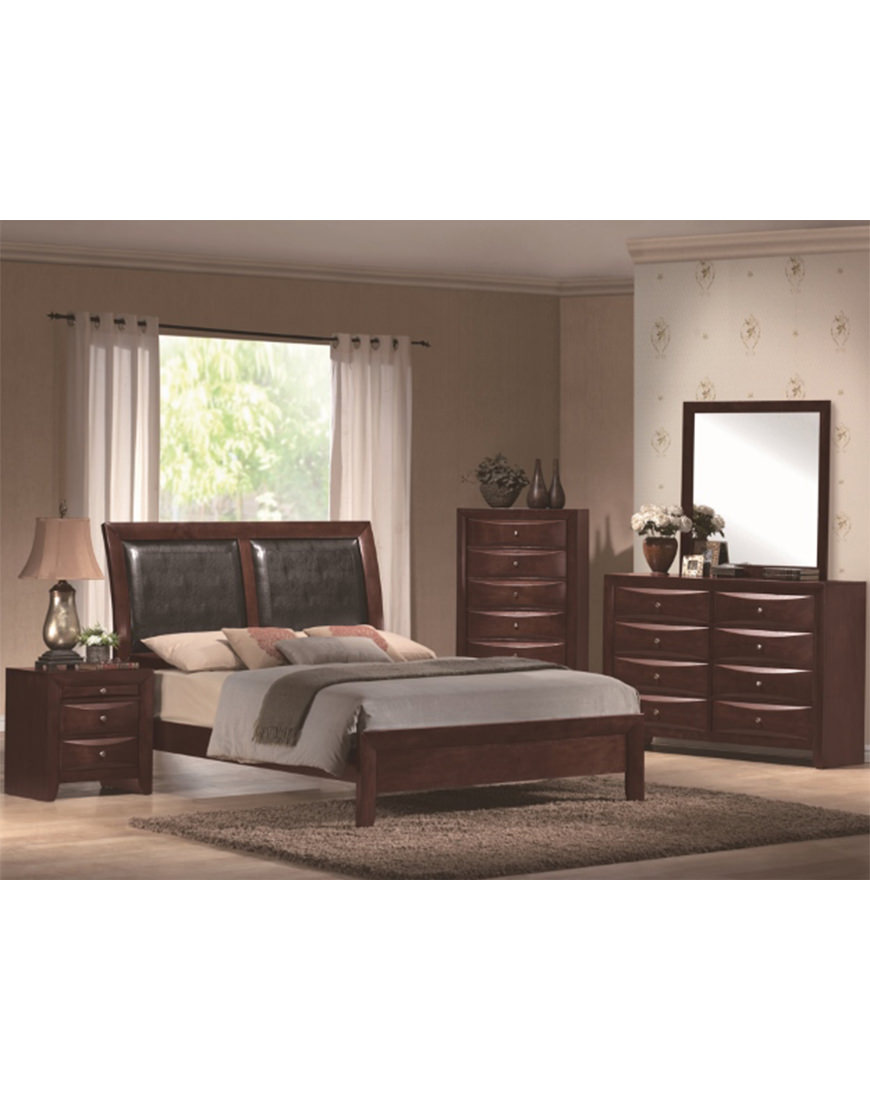 Emilie Bedroom Collection: Crown Mark Emily Storage Dark Cherry Bedroom Collection