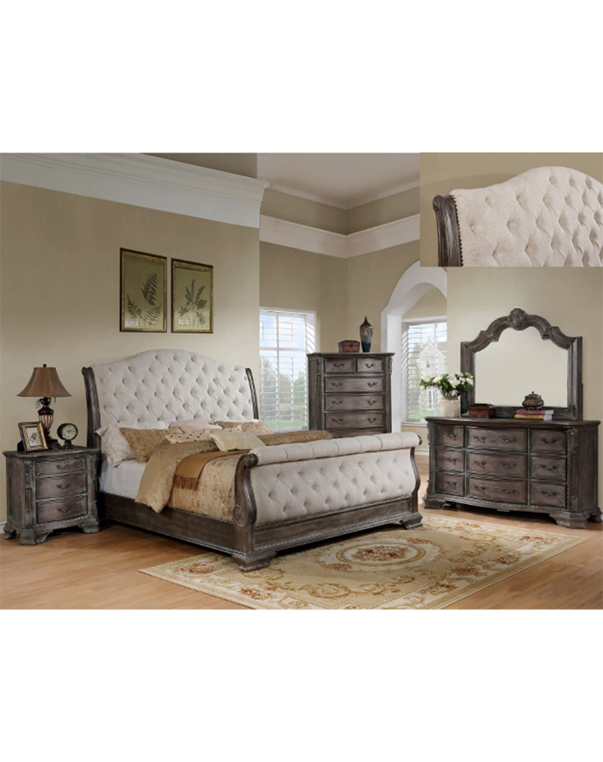 Crown Mark Sheffield Grey Sleigh King Bed Austin S Furniture Depot