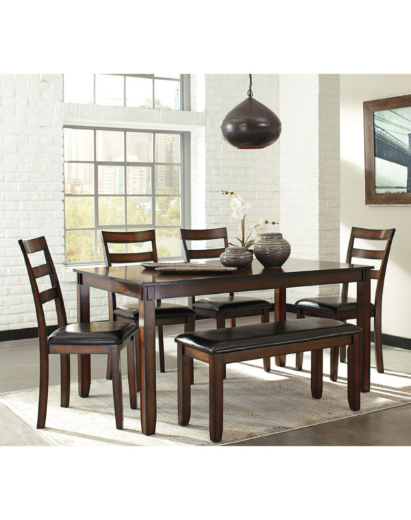 Ashley Coviar Dining Room Table and Chairs with Bench (Set of 6)