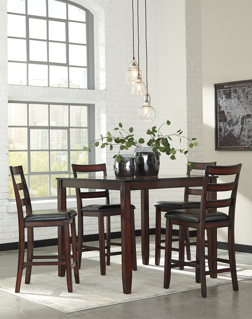 Ashley Coviar Counter Height Dining Room Table and Bar Stools (Set of 5)