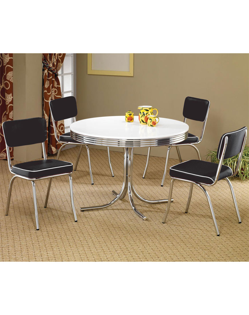 Coaster Cleveland Retro 5 Piece Round Dining Table & Upholstered Chairs