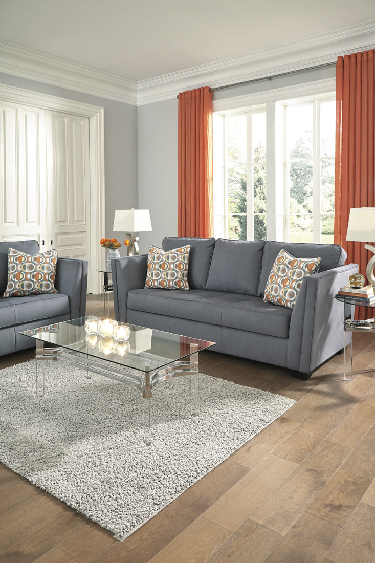Ashley Filone Sofa In Steel Austin S Furniture Depot