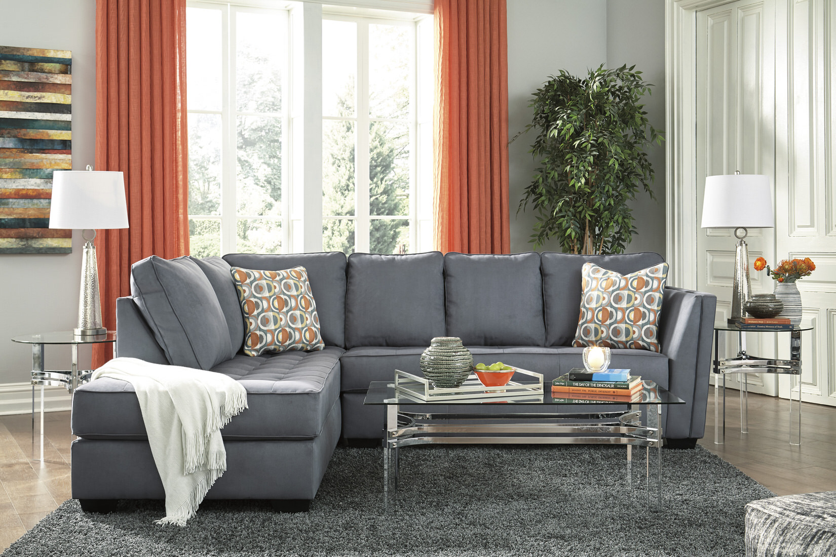 Ashley Filone Sectional in Steel - Austin's Furniture Depot