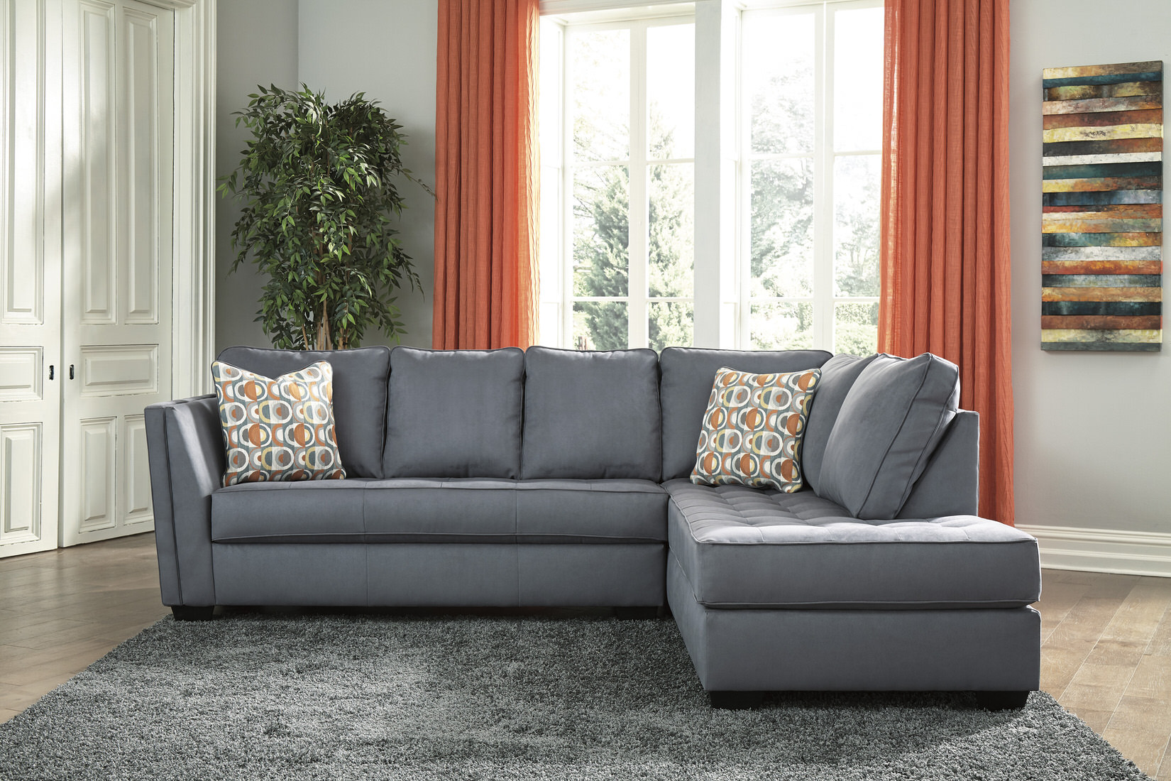 Ashley Filone Sectional In Steel Austin S Furniture Depot